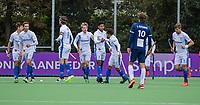 AMSTELVEEN - Terrance Pieters (Kampong) heeft gescoord   tijdens   hoofdklasse hockeywedstrijd mannen, Pinoke-Kampong (2-5) . COPYRIGHT KOEN SUYK