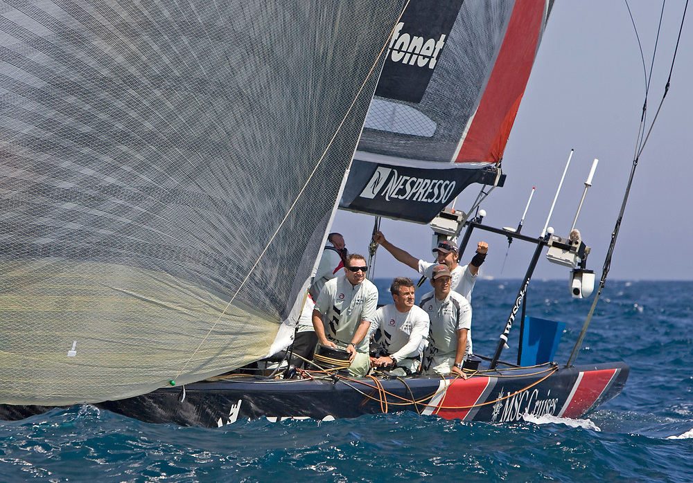Race 7 ALINGHI beats Emirates Team New Zealand by 1 second and wins the America's Cup <br /> Only Ernesto is celebrating yet, the rest of the crew is not sure who won!<br /> 32nd America's Cup, 2007<br /> Valencia, Spain<br /> © Daniel Forster