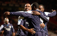 Photo: Daniel Hambury.<br />Charlton Athletic v Manchester City. Barclays Premiership.<br />04/12/2005.<br />City's Trevor Sinclair celebrates with team mates after Andrew Cole scored the fifth goal.