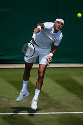 July 3, 2018 - London, U.S. - LONDON, ENGLAND - JULY 03: JUAN MARTIN DEL P305687O (ARG) during day two match of Wimbledon on July 3, 2018, at All England Lawn Tennis and Croquet Club in London, England. (Photo by Chaz Niell/Icon Sportswire) (Credit Image: © Chaz Niell/Icon SMI via ZUMA Press)