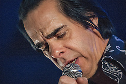 Frontman Nick Cave, of Nick Cave and the Bad Seeds, on stage tonight at The Barrowlands, Glasgow, Scotland.<br /> ©Michael Schofield.