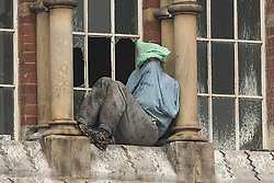 © Licensed to London News Pictures . 15/09/2015 . Manchester , UK . STUART HORNER on the roof at HMP Manchester (formerly Strangeways Prison ), this morning (15th September 2015) . Photo credit: Joel Goodman/LNP