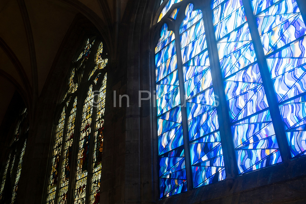 Interior modern stained glass view of Hereford Cathedral on 7th June 2021 in Hereford, United Kingdom. Hereford Cathedral is the cathedral church of the Anglican Diocese of Hereford, England. A place of worship has existed on the site of the present building since the 8th century or earlier. The present building was begun in 1079. Substantial parts of the building date from both the Norman and the Gothic periods.