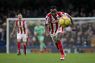 Saido Berahino of Stoke City chases the ball .<br /> Premier league match, Chelsea v Stoke city at Stamford Bridge in London on Saturday 30th December 2017.<br /> pic by Kieran Clarke, Andrew Orchard sports photography.