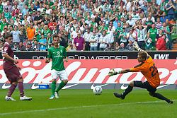 06.08.2011, Weser Stadion, Bremen, GER, 1.FBL, Werder Bremen vs 1.FC Kaiserslautern, im Bild wb1 ueberspielt Kevin Trapp (Kaiserslautern #29) auf dem Weg zum 3:0 doch der Pfosten rettet..// during the Match GER, 1.FBL, Werder Bremen vs 1.FC Kaiserslautern on 2011/08/06,  Weser Stadion, Bremen, Germany..EXPA Pictures © 2011, PhotoCredit: EXPA/ nph/  Kokenge       ****** out of GER / CRO  / BEL ******