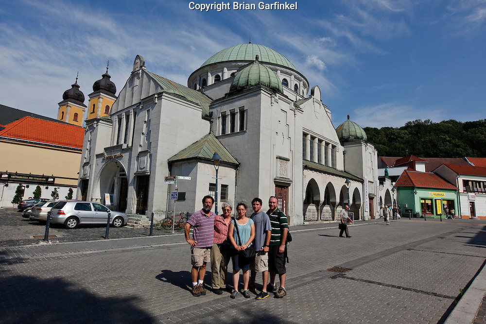 Dad, Mom, Kate, Joel and Brian in front of the old Synagogue in Trencin, Slovakia on Friday, July 8th 2011.  (Photo by Brian Garfinkel)