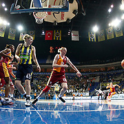 Fenerbahce's Angel MCoughtry (2ndL), Kristen Newlin (3ndL) and Galatasaray's Ann Wauters (C) during their Turkish Basketball woman league derby match Fenerbahce between Galatasaray at Ulker Sports Arena in Istanbul, Turkey, wednesday, December 26, 2012. Photo by Aykut AKICI/TURKPIX