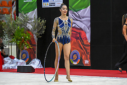 July 28, 2018 - Chieti, Abruzzo, Italy - Rhythmic gymnast Alexandra Agiurgiuculese of Italy performs her hoop routine during the Rhythmic Gymnastics pre World Championship Italy-Ukraine-Germany at Palatricalle on 29th of July 2018 in Chieti Italy. (Credit Image: © Franco Romano/NurPhoto via ZUMA Press)