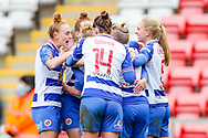 GOAL Reading celebrate after Reading midfielder Natasha Harding (11) (hidden) scored during the FA Women's Super League match between Manchester United Women and Reading LFC at Leigh Sports Village, Leigh, United Kingdom on 7 February 2021.