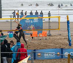 Raisa Schoon & Katja Stam in action. The DELA NK Beach volleyball for men and women will be played in The Hague Beach Stadium on the beach of Scheveningen on 22 July 2020 in Zaandam.