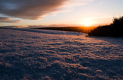 © Licensed to London News Pictures. <br /> 02/01/2017. <br /> Kirkbymoorside, UK.  <br /> <br /> The sun rises over a frost covered North Yorkshire Moors near Kirkbymoorside.<br /> <br /> Photo credit: Ian Forsyth/LNP