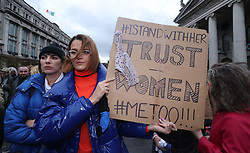 People gather for a protest in support of victims of Sexual violence on O'Connell Street, Dublin.