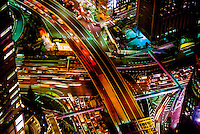 Overview of Tokyo traffic from the Dentsu Building, Shiodome, Tokyo, Japan