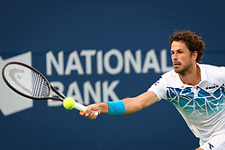 August 9, 2018 - Toronto, ON, U.S. - TORONTO, ON - AUGUST 09: Robin Haase (NED) returns the ball during his third round match of the Rogers Cup tennis tournament on August 9, 2018, at Aviva Centre in Toronto, ON, Canada. (Photograph by Julian Avram/Icon Sportswire) (Credit Image: © Julian Avram/Icon SMI via ZUMA Press)