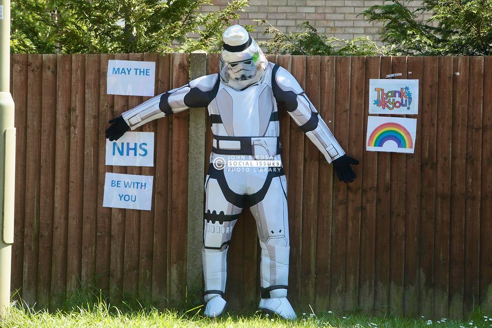 Star Wars figure during Coronavirus lockdown - May the NHS be with you! Dorset UK May 2020