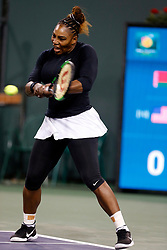 March 8, 2019 - Indian Wells, CA, U.S. - INDIAN WELLS, CA - MARCH 08: Serena Williams (USA) hits a backhand during the second round of the BNP Paribas Open on March 08, 2019, at the Indian Wells Tennis Gardens in Indian Wells, CA. (Photo by Adam Davis/Icon Sportswire) (Credit Image: © Adam Davis/Icon SMI via ZUMA Press)