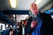 "Tony Benn MP on the peace train to Manchester, UK in 2006 with Stop the War Coalition. Anthony Neil Wedgwood ""Tony"" Benn, (3 April 1925 – 14 March 2014), formerly 2nd Viscount Stansgate, was a British Labour Party politician who was a Member of Parliament (MP) for 50 years and a Cabinet Minister."