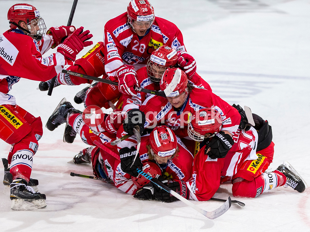 Rapperswil-Jona Lakers forward Nico Alena (#23) celebrates with his teammates Kilian Liechti (#10), Kim Lang (#22), Janis Egger (#26), Jonas Graetzer (#13), Siro Rutzer (#28) and Yves Kohli (#4) after scoring the winning goal in the penalty shootout during ice hockey game 3 of the Elite B Playoff Final between Rapperswil-Jona Lakers and EHC Chur Capricorns in Rapperswil, Switzerland, Tuesday, March 13, 2018. (Photo by Patrick B. Kraemer / MAGICPBK)
