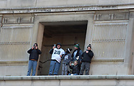 Fans watch as members of the Philadelphia Eagles organization celebrate their Super Bowl LII win during a parade Feb. 8, 2018, in front of millions of fans in downtown Philadelphia, Pennsylvania. (Photo by Matt Smith)