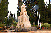 Israel, Upper Galilee, Tel Hai The roaring lion monument in honour of Yosef Trumpeldor and friends who died while protecting the settlement from Arab attack in 1920. The statue is by Avraham Melinkov from 1934