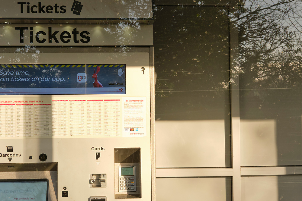 Greater Anglia ticket machine in the winter sunshine. Housed in the waiting room/shelter at Trimley Station on the branch line from Ipswich to Felixstowe.<br /> <br /> Photo by Jonathan J Fussell, COPYRIGHT 2020