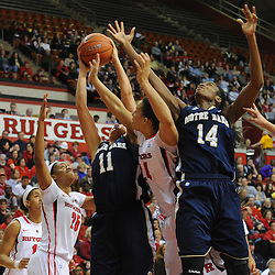 Notre Dame Fighting Irish forward Natalie Achonwa (11) grabs an offensive rebound away from forward Devereaux Peters (14), Rutgers Scarlet Knights guard/forward April Sykes (24) and guard Briyona Canty (25) during first half NCAA Big East women's basketball action between Notre Dame and Rutgers at the Louis Brown Athletic Center. Notre Dame leads 40-23 at halftime.