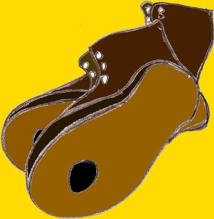 Driebergen, 16  febr  2009.illustratie, tekening met computer inkleuringmet de kredietcrisis als thema..oude schoenen, met gat in de zolen. tijden van armoe.. Foto: (c) Renee Teunis