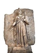 """Roman Sebasteion relief sculpture personifing a Balkan Warrior  Aphrodisias Museum, Aphrodisias, Turkey.  Against a white background.<br /> <br /> The relief figure personifies a Balkan Warrior tribe defeated by Tiberius in AD 6-8 before he became emperor. She wears a classical dress, cloak and helmet and carries a small shield and probably once a spear. A builder's inscription, """"Pirouston"""", written above the shield, ensured the relief was put on the right base .<br /> <br /> If you prefer to buy from our ALAMY STOCK LIBRARY page at https://www.alamy.com/portfolio/paul-williams-funkystock/greco-roman-sculptures.html . Type -    Aphrodisias     - into LOWER SEARCH WITHIN GALLERY box - Refine search by adding a subject, place, background colour, museum etc.<br /> <br /> Visit our ROMAN WORLD PHOTO COLLECTIONS for more photos to download or buy as wall art prints https://funkystock.photoshelter.com/gallery-collection/The-Romans-Art-Artefacts-Antiquities-Historic-Sites-Pictures-Images/C0000r2uLJJo9_s0"""