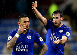 Christian Fuchs and Danny Simpson of Leicester City look frustrated and angry after their sides defeat to Burnley - Mandatory by-line: Robbie Stephenson/JMP - 31/01/2017 - FOOTBALL - Turf Moor - Burnley, England - Burnley v Leicester City - Premier League