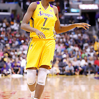 15 August 2014: Los Angeles Sparks forward/center Sandrine Gruda (7) is seen during the Los Angeles Sparks 77-65 victory over the Seattle Storm, at the Staples Center, Los Angeles, California, USA.