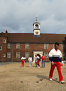 Osterley, Greater london. Competitors during a game, at the Le Piat d'or,  Petanque/Boules Championships held in the grounds of Osterley House West London, England, [Mandatory Credit; Peter Spurrier/Intersport Images] 19870912 Petanque Championships, Osterley, Greater London, UK