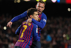 January 30, 2019 - Barcelona, BARCELONA, Spain - Coutinho and Arthur of Barcelona celebrating a goal during Spanish King championship, football match between Barcelona and Sevilla, January  30th, in Camp Nou Stadium in Barcelona, Spain. (Credit Image: © AFP7 via ZUMA Wire)