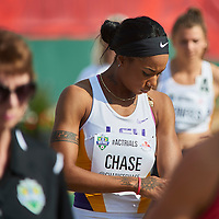 Chanice Chase competing in the Women's 400m Hurdle Prelims at the 2016 Athletics Canada Olympic Trials at Foote Field, Edmonton