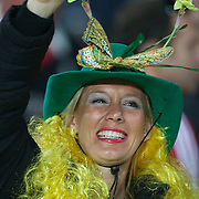 An Australian fan in the crowd during the Australia V Wales Bronze Final match at the IRB Rugby World Cup tournament, Auckland, New Zealand. 21st October 2011. Photo Tim Clayton...