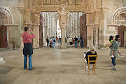 tourist in the St Lazare church France in Avallon