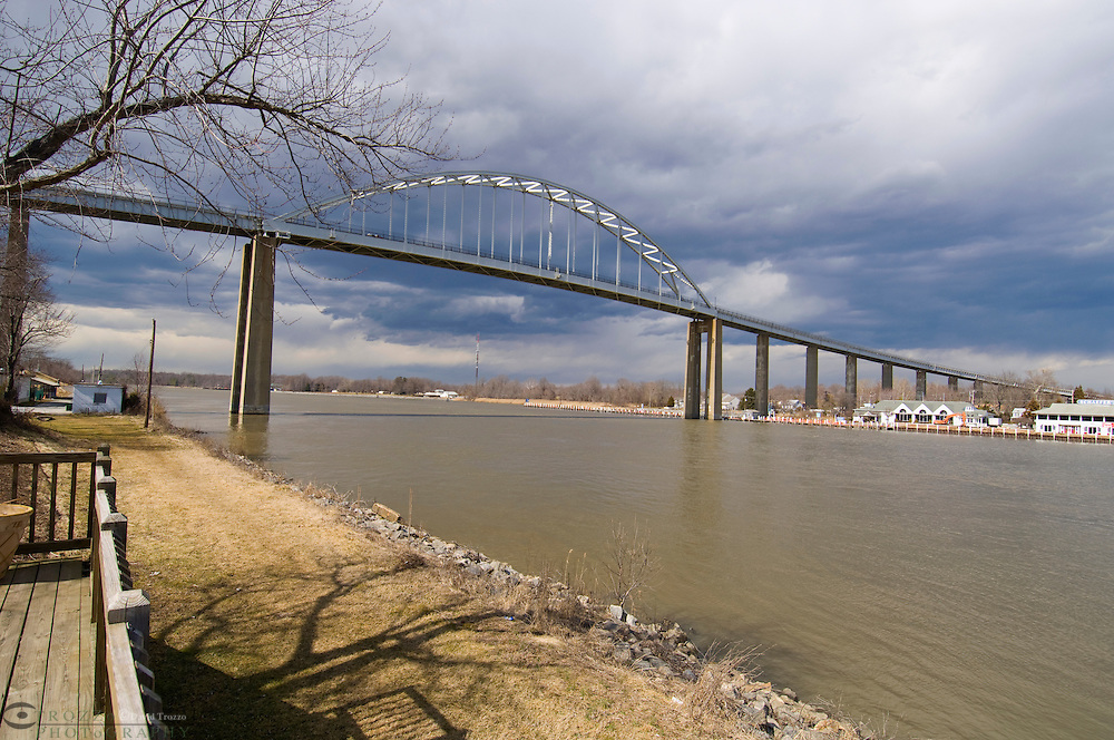 Chesapeake City, Maryland--The Chesapeake Country Scenic Byway, Route 213, towers over the Chesapeake & Delaware Canal and connects the north and South sides of Chesapeake City Maryland. The suspension bridge was completed in 1949.