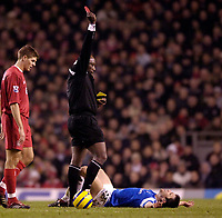 Photo: Jed Wee.<br />Liverpool v Birmingham City. Barclays Premiership. 01/02/2006.<br />Birmingham's Damien Johnson (R) receives the red card from referee Uriah Rennie.