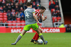 March 16, 2019 - Sunderland, Tyne and Wear, United Kingdom - Walsall's George Dobson tackles Sunderland's Lewis Morgan Ferrier during the Sky Bet League 1 match between Sunderland and Walsall at the Stadium Of Light, Sunderland on Saturday 16th March 2019. (Credit: Steven Hadlow | MI News) (Credit Image: © Mi News/NurPhoto via ZUMA Press)