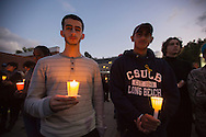 Vigil for Cal State University of Long Beach student Nohemi Gonzalez who was killed in the Paris terror attack on 11/13/15. Her fellow students, school faculty, and family attended the vigil held at CSULB.