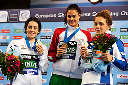 25.11.2010, Pieter van den Hoogenband Zwemstadion, Eindhoven, NED, Kurzbahn Schwimm EM, im Bild ..200m Butterfly podium.Alessia POLIERI Italy Silver, Zsuzsanna JAKABOS Hungary Gold, Caterina GIACCHETTI Italia. // Eindhoven 25/11/2010 .European Short Course Swimming Championships, EXPA/ InsideFoto/ Staccioli+++++ ATTENTION - FOR AUSTRIA/AUT, SLOVENIA/SLO, SERBIA/SRB an CROATIA/CRO CLIENT ONLY +++++ / SPORTIDA