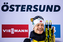 March 9, 2019 - –Stersund, Sweden - 190309 Johannes Thingnes Bö of Norway celebrates his first place at the podium after the Men's 10 KM sprint during the IBU World Championships Biathlon on March 9, 2019 in Östersund..Photo: Petter Arvidson / BILDBYRÃ…N / kod PA / 92252 (Credit Image: © Petter Arvidson/Bildbyran via ZUMA Press)