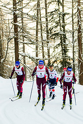 February 2, 2018 - Goms, SWITZERLAND - 180202 Natalia Neprjaeva, Anastasia Sedova and Yana Kirpichenko of Russia compete in the women's 7,5/7,5 km skiathlon during the FIS U23 Cross-Country World Ski Championships on February 2, 2018 in Obergoms..Photo: Vegard Wivestad GrÂ¿tt / BILDBYRN / kod VG / 170095 (Credit Image: © Vegard Wivestad Gr¯Tt/Bildbyran via ZUMA Press)