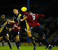 Photo. Chris Ratcliffe<br />Southend United v Bristol Rovers. FA Nationwide 3rd Division. 20/12/2003<br />Adam Barrett of Bristol and Tes Bramble of Southend go up for the ball
