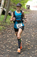 Rosendale, New York - First-place finisher Laura Kline nears the finish line in the Shawangunk Ridge Trail Run/Hike 20-mile race on Sept. 20, 2014.