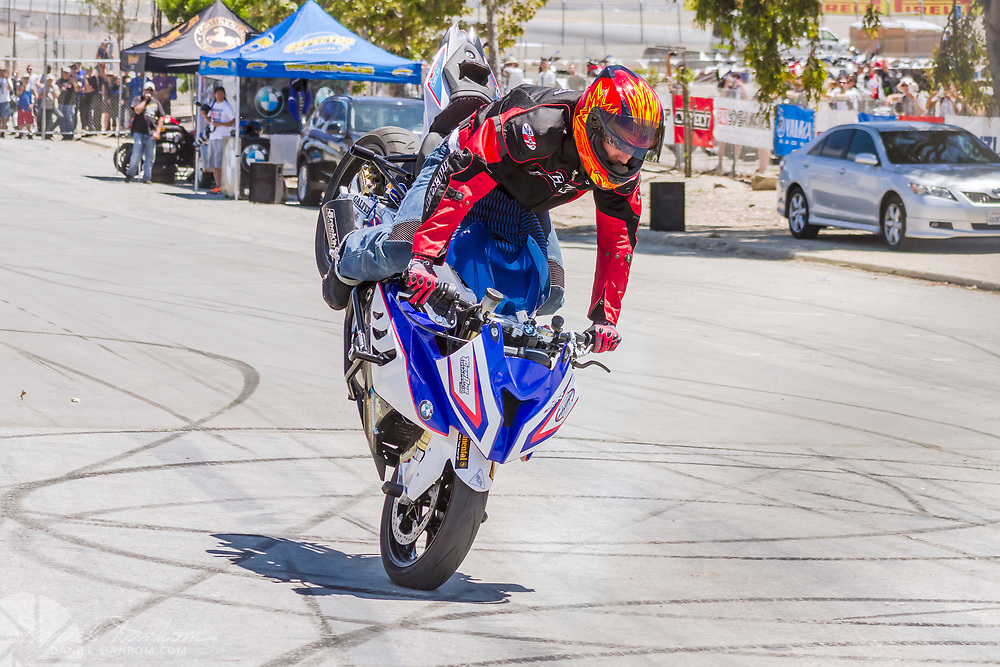 "Chris ""Teach"" McNeil BMW stock motorcycle performance show at Mazda Laguna Seca Raceway, Monterey, California"