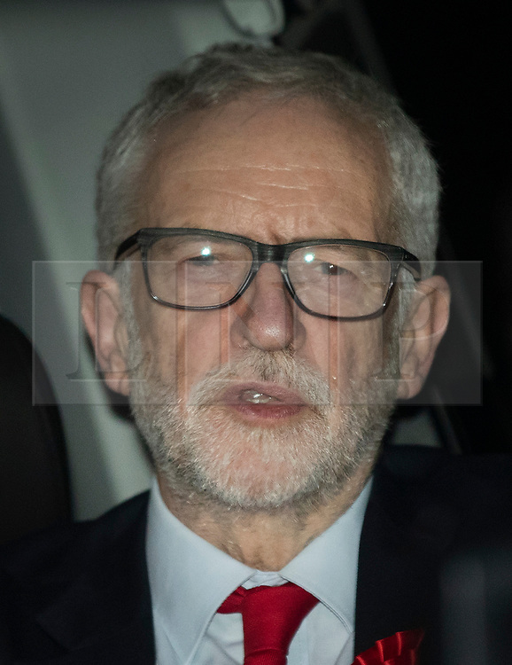 © Licensed to London News Pictures. 13/12/2019. London, UK. Labour Party Leader Jeremy Corbyn leaves party headquarters by the back door after the 2019 General Election results showed a majority for the Conservative Party.The Conservatives are predicted to win the election with a majority of 64 seats. Photo credit: Peter Macdiarmid/LNP