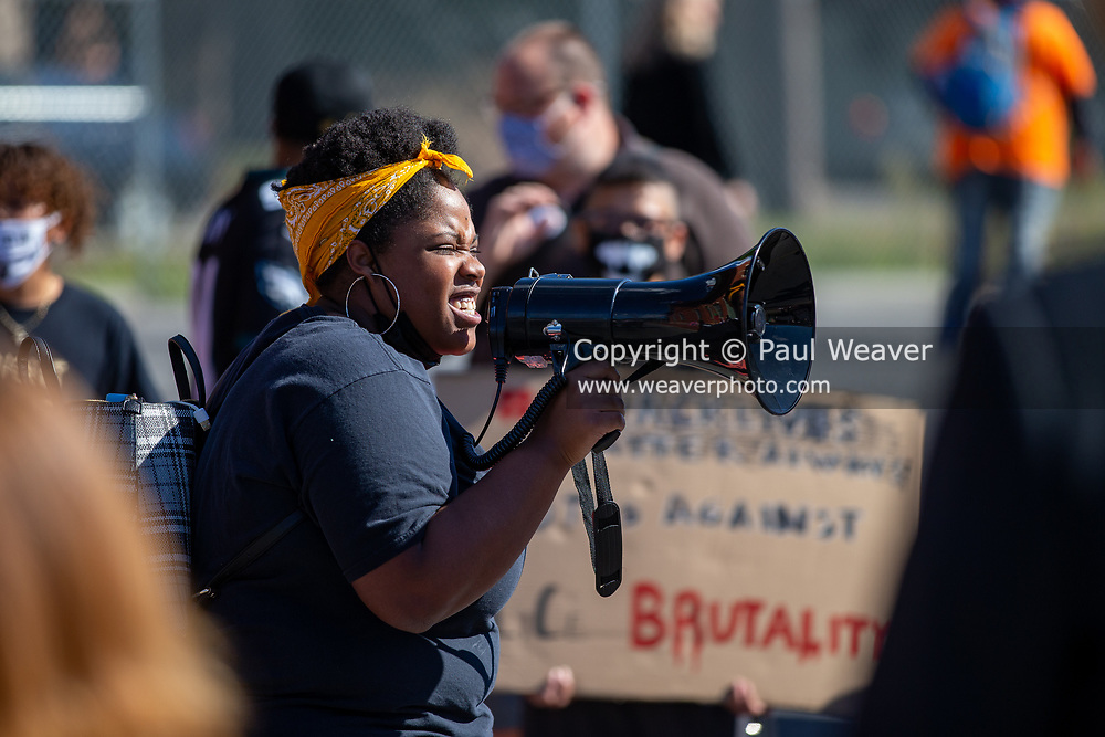Bloomsburg University student Brittany Stephenson speaks during a Black Lives Matter rally outside of the Milton Police station.