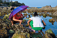 """People collecting mussels, Yangma island, prefecture Yantai, Shandong, China. Yangma Island is situated by the Yellow Sea and it is called """"the pearl in the sea""""."""