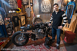 Custom Moto Guzzi cafe racer on display in the Mercantino Cafe Racer booth during the Motor Bike Expo. Verona, Italy. January 22, 2016.  Photography ©2016 Michael Lichter.