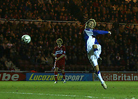 Photo: Andrew Unwin.<br /> Middlesbrough v Blackburn Rovers. Carling Cup. 21/12/2005.<br /> Blackburn's Robbie Savage (R) fires in his team's first goal, but it is disallowed.
